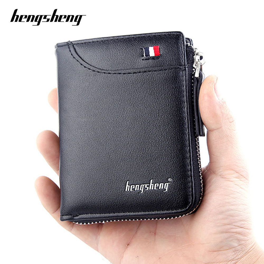 Fashion Small Men Wallet Black Short Zipper Purse With Coin Pocket Brand Soft Pu Leather Man Card Holder Designer Male Money Bag