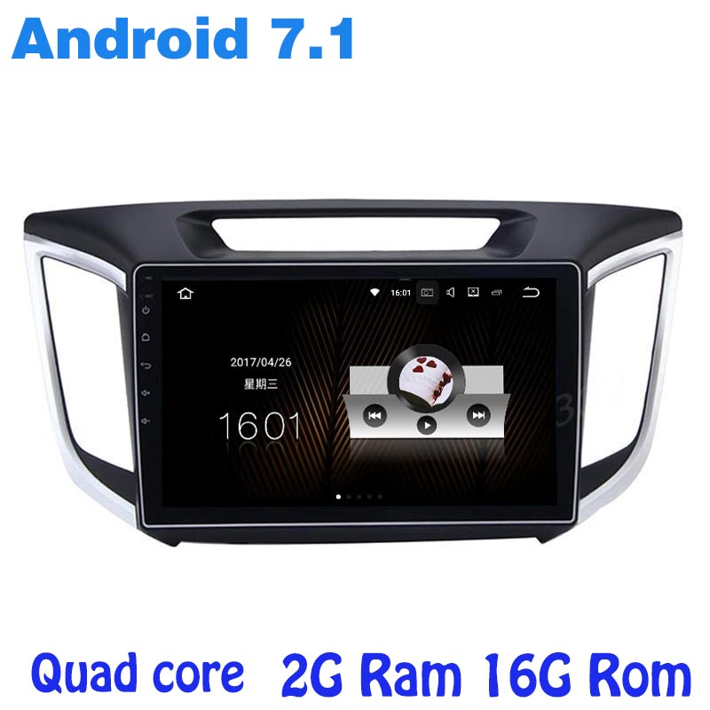 Quad core Android 7.1 car radio gps player for hyundai IX25 creta with 2G RAM wifi 4G USB RDS audio stereo mirror link sat NAVI