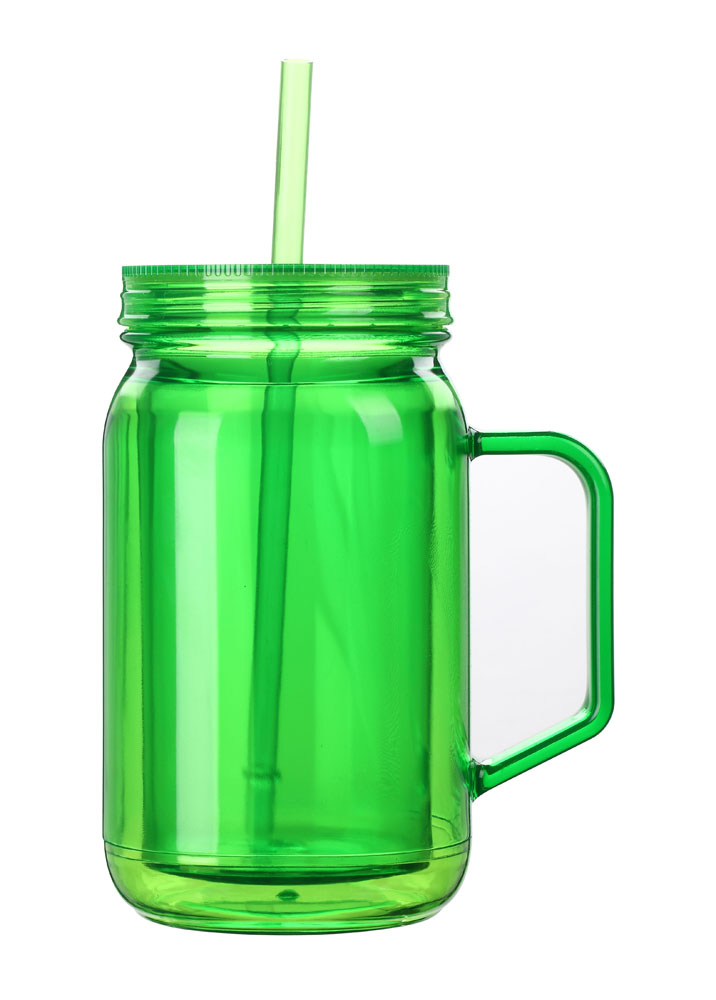 Mason Jar Large Capacity With Handle Candy Jar Suction Cup Lid And Straw Double Wall Plastic