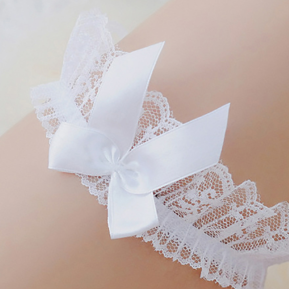 Sexy Lace Satin Bowknot Leg Foot Ring Intimates Harness Wedding Bridal Garter