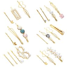 Women Girl Side Bangs Styling Barrette Metal Alloy Imitation Pearl Heart Frog Bobby Pins Handmade Knit Colored Button Hair Clip цены