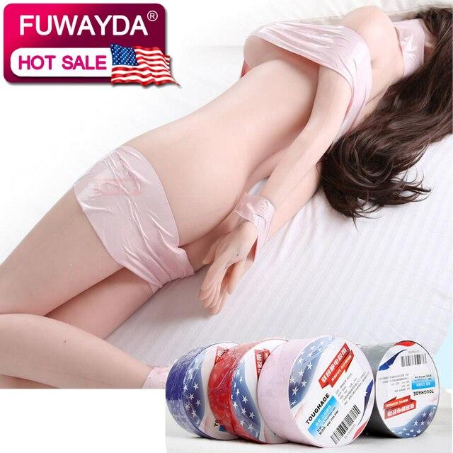 25 meters 10 Colors PVC Static Bondage Tape Anti-Stick Hair Breathable Restraints Sex Flirting Toys Couples Role Adult Games