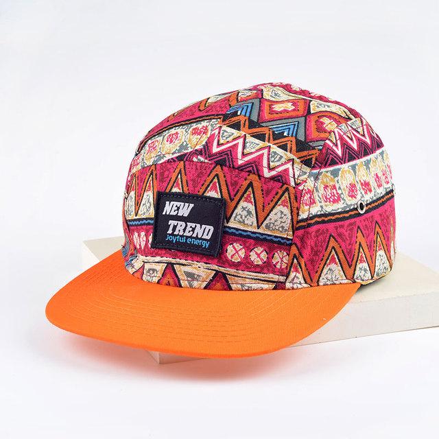 2016 verão novos padrões Geométricos Bonés de Beisebol 5 painel cap cinco painel snapback gorro hip hop chapéus para mulheres dos homens