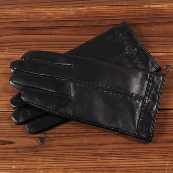 Gours 2018 Winter New Men Genuine Leather Gloves Goatskin Mittens Black Plus Velvet Warm Fashion Business Driving Gloves GSM035 1