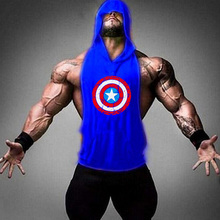 New hooded casual superhero captain brand Singlets mens vest muscle shirt Superman Stringer bodybuilding