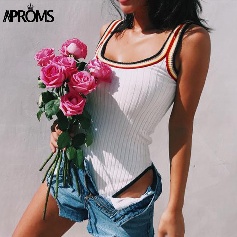 Aproms Bunte Gestreifte Gestrickte Bodys Frauen Casual Ärmellose Dünne Bodycon Strampler Streetwear Overall Overalls Stricken Top
