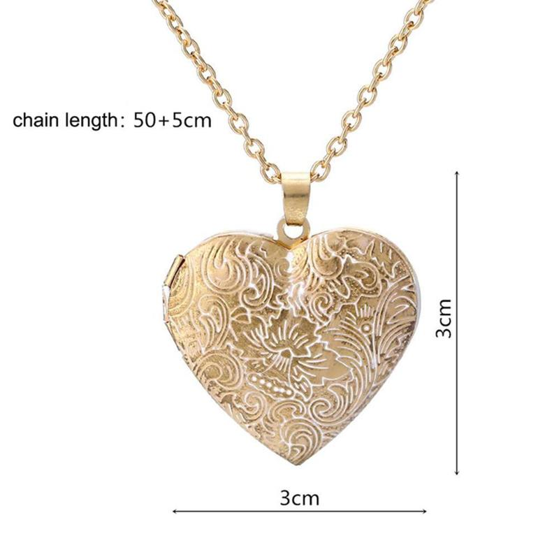 1pc Personality Retro Love Heart-shaped Carved Phase Box Pendant Necklace Heart Can Open Items Jewelry Manufacturers Wholesale image