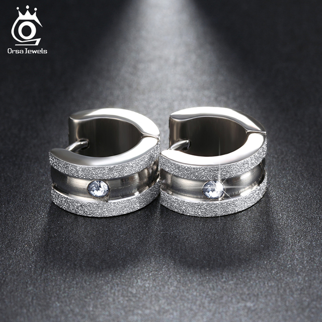 Orsa Jewels Silver Color Gold Color Stainless Steel Hoop Earrings