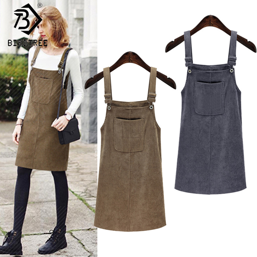 XXXXXL Spring 2018 Dresses Women Bandage Fashion Vintage Sundress College Wind Corduroy Loose Strap Dress Female Dresses D82801A