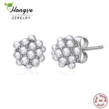 Hongye 2017 Fashion Vintage Pearl Stud Earrings Snowflake Full Small Natural Pearl Sterling Silver Jewelry Women Christmas Gifts