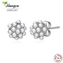 Hongye 2017 Modni Vintage Pearl Stud Earrings Naušnice Puni Mali Prirodni Pearl Sterling Silver Nakit Žene Božićni pokloni