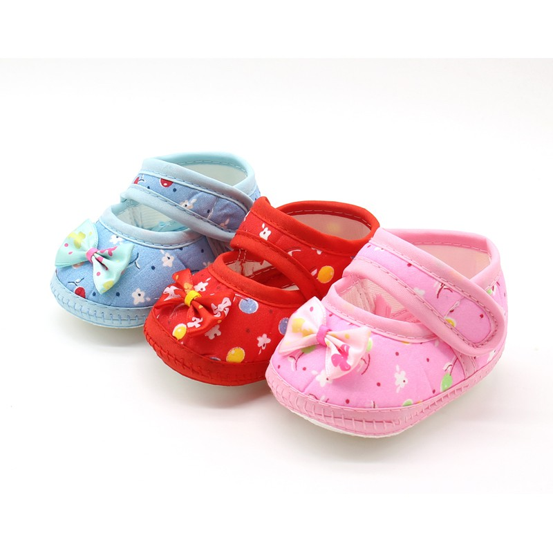 2018 Newborn Baby Shoes Girl Boys Shoes Lace Bowknot Pink zapatos bebes Toddler Prewalker Anti-Slip First Walker