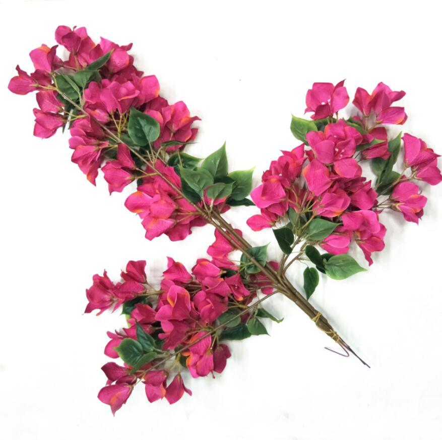 2 uds Bougainvillea glabra Artificial rama de la flor para la planta de pared Fondo boda hogar Hotal Oficina Bar decorativo