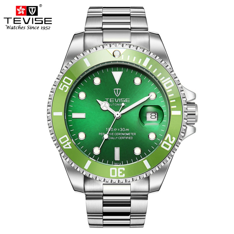 Tevise Mens Watches Fashion Business Quartz Watch Man Sport Full Steel Auto Date Calendar Wristwatches Relogio Masculino T801 цена и фото