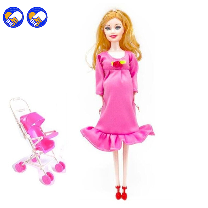 A toy A dream New MOM+Baby Strollerl pregnant doll suits mom doll have a baby in her tummy for barbie,doll family for barbie toy free shipping new 10pcs lot white doll stand display holder doll accessories for barbie doll doll supports for barbie