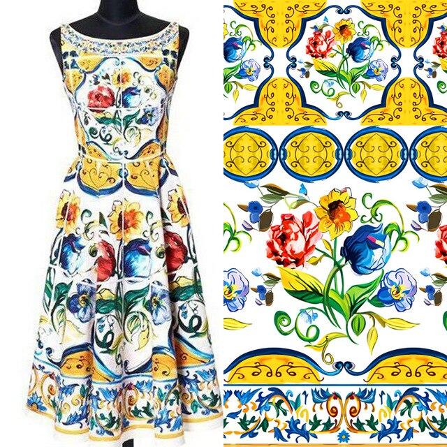 100% polyester spring and summer fashion printing fabric dress skirt strap senior printing cloth wholesale custom