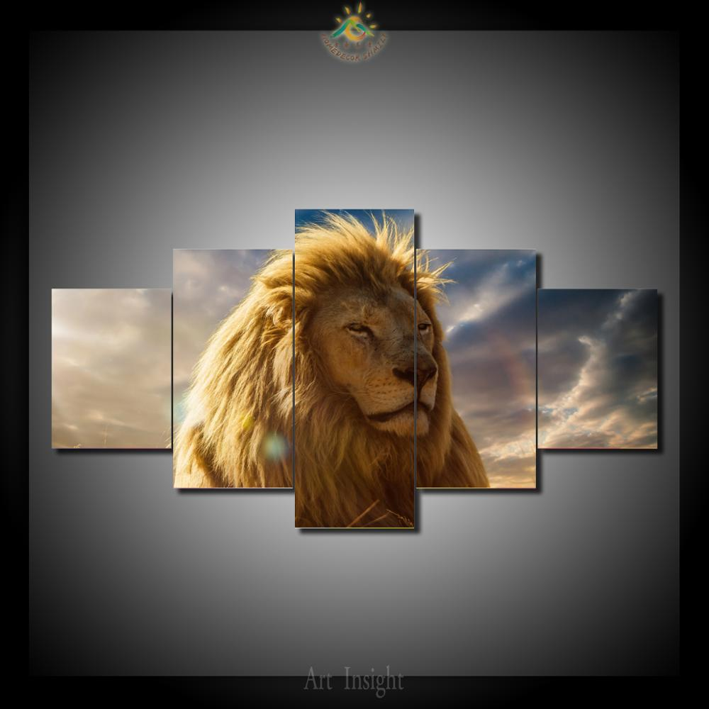 Online Shop 5 Piecesset The King Of Lion Wall Decor Painting Canvas