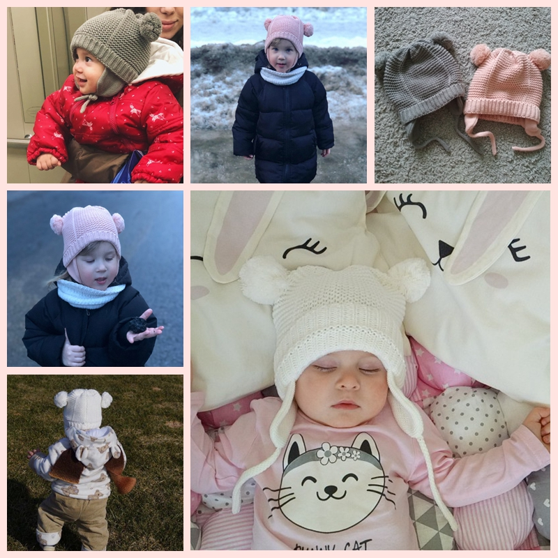 Cutex Knitted Pompom Baby Hat Cap Thick Warm Baby Girl Boy Hat Beanie Winter Ear Warm Kids Hat Baby Bonnet Muts For Newborn 01