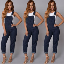 2018 Autumn New Women Denim Jumpsuits Casual Ladies Solid Baggy Causal Jeans Full Length Loose Jumpsuit