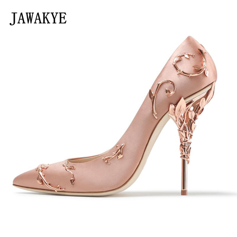 JAWAKYE Fashion Wedding Party Shoes Woman Gold white Red pointed toe Pumps Metal Decoration Leaves Silk thin High Heels Shoes 2017 spring fashion 9 cm pointed toe high heeled shoes metal pearl decoration thin heels patent leather wedding party shoes