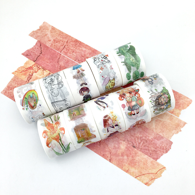 10 pcs/lot DIY Japanese Paper Decorative Adhesive Tape Characters landscapes flowers Washi Tape/Masking Tape Sticker 30mm*5m