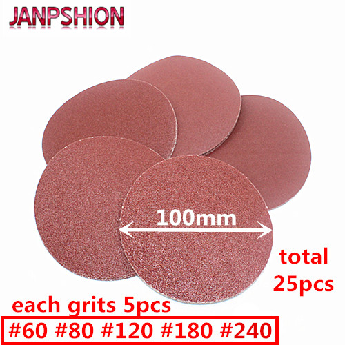 JANPSHION 25pc Red Round Sandpaper Flocking Self-adhesive Sanding Paper For Sander 4