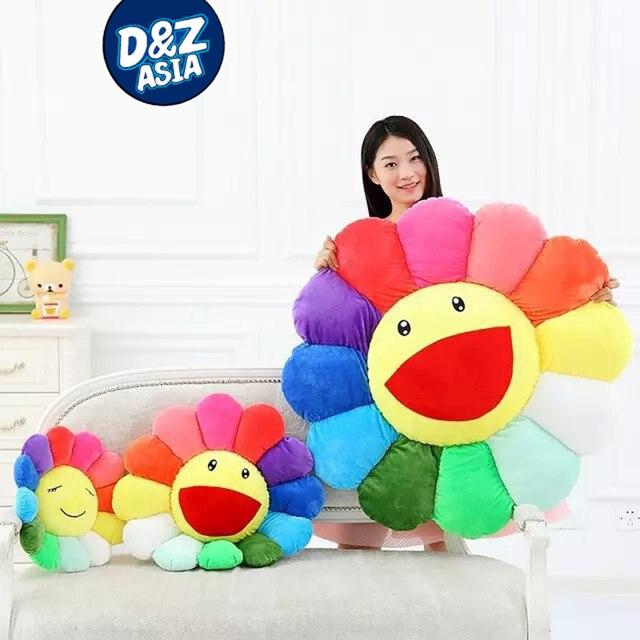 Flores coloridas criativas de pelúcia esteiras meditação almofada smileys emoticons piso almofadas cojin gato