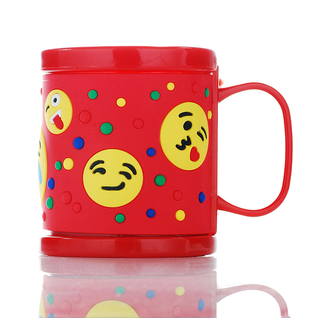 Free Shipping Plastic Milk Mugs Kids Cups Red Embossed Emoji