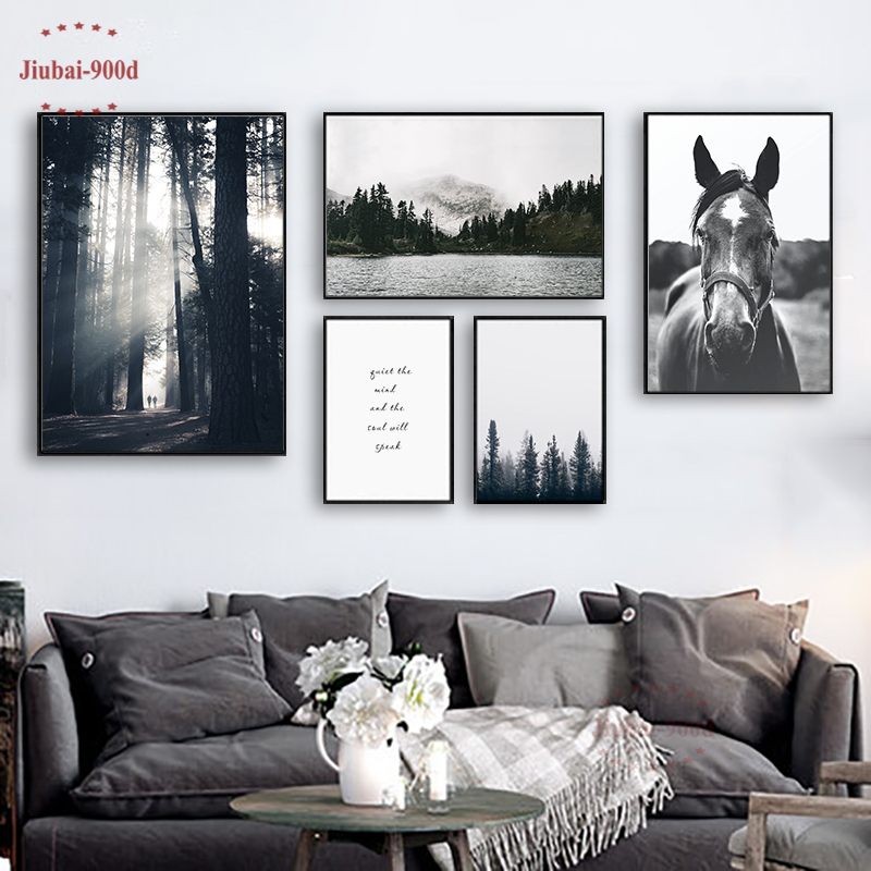 900D Nordic Forest Posters And Prints Wall Pictures For Living Room Horse Mountain Canvas Painting Wall Art Decoration SAN66