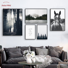 900D Nordic Forest Posters And Prints Wall Pictures For Living Room Horse Mountain Canvas Painting Wall Art Decoration SAN66(China)