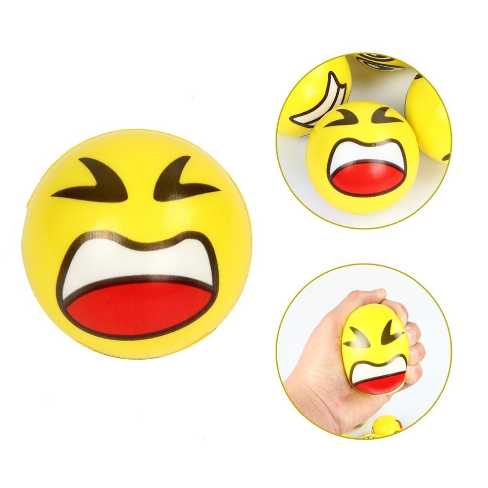 12pcs Lot Funny Faces Squeeze Ball Emoji Anti Stress Toys Hand Wrist