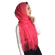 Bufanda de Color liso para mujer, Pañuelo con borlas ahuecadas, velo blanco marfil, pañuelo de encaje, chal Hijab musulmán para mujer, Pashmina