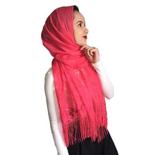 Women's Wrap plain color Fashion hollow out tassels scarf Ivory white veil lace scarf shawl women Muslim hijab bandana pashmina(China)