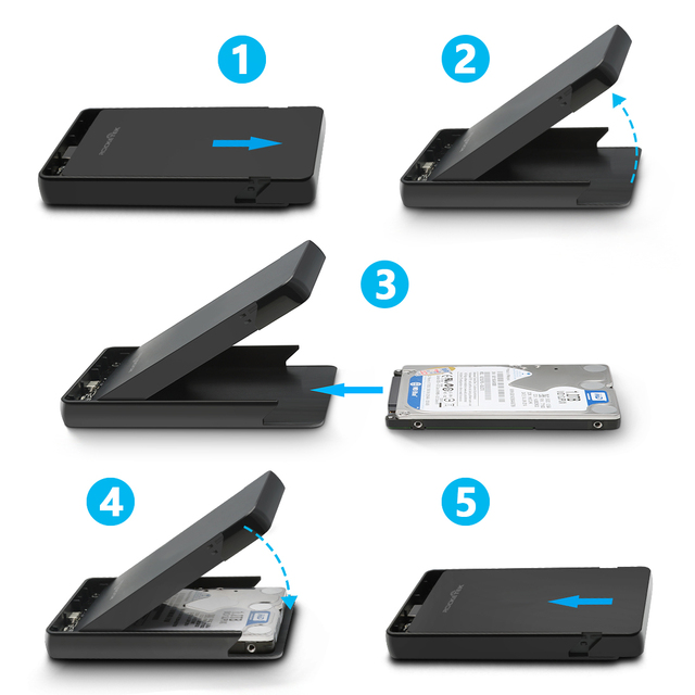 Rocketek HDD Case 2.5 inch SATA to USB 3.0 SSD Adapter Hard Disk Drive Box External HDD Enclosure for Notebook Desktop PC 1