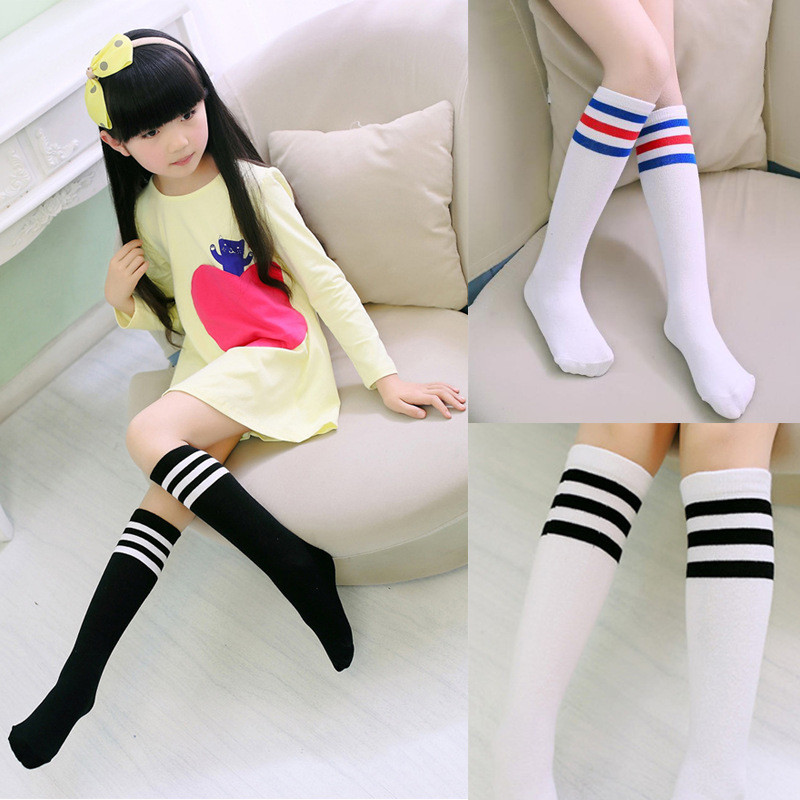 Soft Cute Cartoon Girls Baby Sock Cotton For Newborn With Rubber Stripe Kid Knee High Long Children Sock For Toddler Accessories