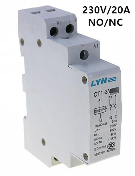 CT 2P 20A 220V 1NO 1NC household AC contactor /Household contact module LYN ct 2p 25a no nc ac220v home ac contactor often open ct1 25 25a lyn brand