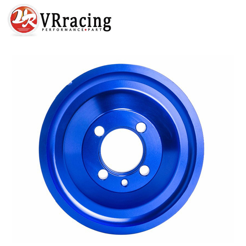 VR RACING - CRANK PULLEY FOR EVO 1 2 3 4G63 CRANK PULLEY HIGH PERFORMANCE LIGHT WEIGHT RACING JDM BLUE VR6891 roman numerals dial artificial leather watch