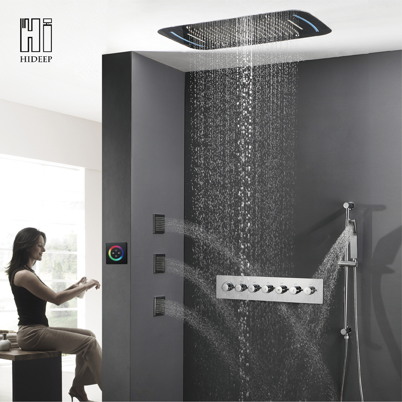 HIDEEP крыши встроенный водопад термостатический изменить шесть Функция светодиодный твердая латунь Ванная комната набор для душа осадков кр