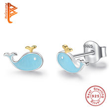 dea8b4da1 BELAWANG Authentic 100% Real 925 Sterling Silver & Gold Color Dolphin Fish  Stud Earrings for Women Children Jewelry Brincos Gift