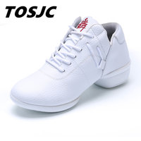 TOSJC 2018 Spring Summer New White Shoes Women Fashion Flat Leather Vulcanized Shoes Female White Board