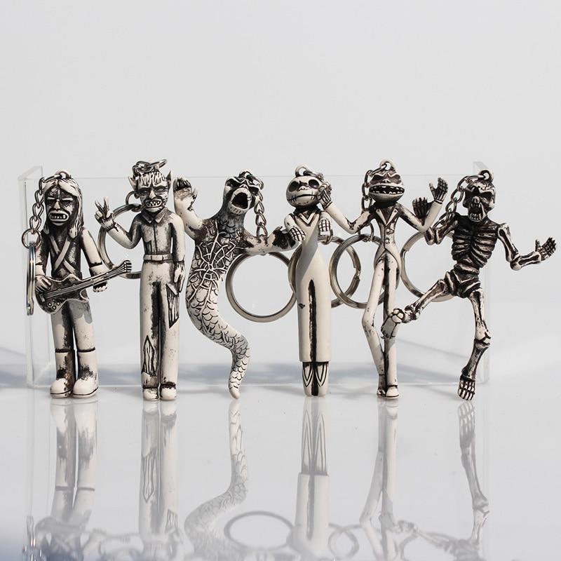 6Pcs/Set Halloween Elf Vampire Medusa Jack Skull <font><b>PVC</b></font> Figure Toy Keychain <font><b>Key</b></font> <font><b>Ring</b></font> Pendant 8~9cm