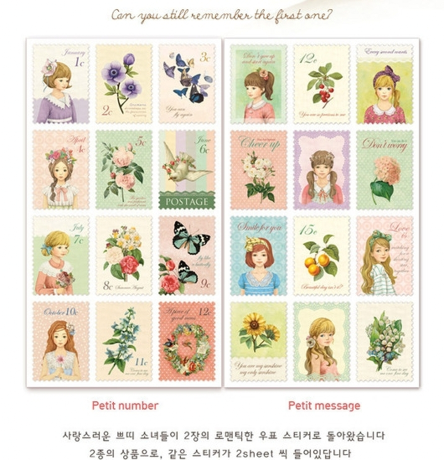 12Pcs/Pack DIY Vintage Paper Stickers Alice Cute Little Lovely Girls Petit Postage Stamp Sticker For Diary Scrapbooking H0127 12pcs set wooden rubber stamps 4 styles cute cartoon stamps for diy scrapbooking diary card decorative stamp embosser