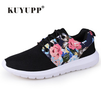 KUYUPP Fashion Breathable Print Flower Women Trainers Casual Shoes 2016 Summer Mesh Low Top Shoes Zapatillas