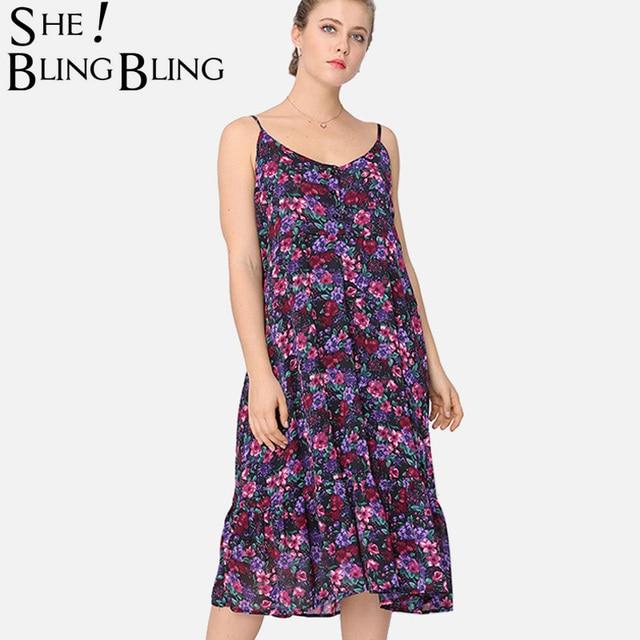 SheBlingBling Plus Size Women Cami Dress Fashion Sleeveless Button ...