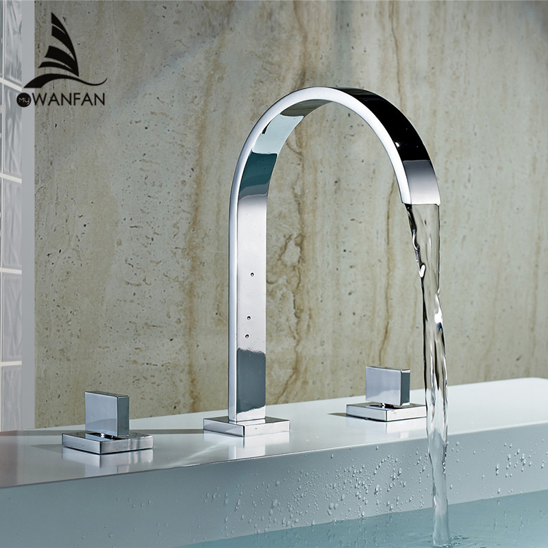 High Quality Polished Chrome Deck Mounted Double Handle Bathroom Taps Square Bathroom Faucets 3 Hole Hot And Cold Water LT-109 brand new deck mounted chrome single handle bathroom