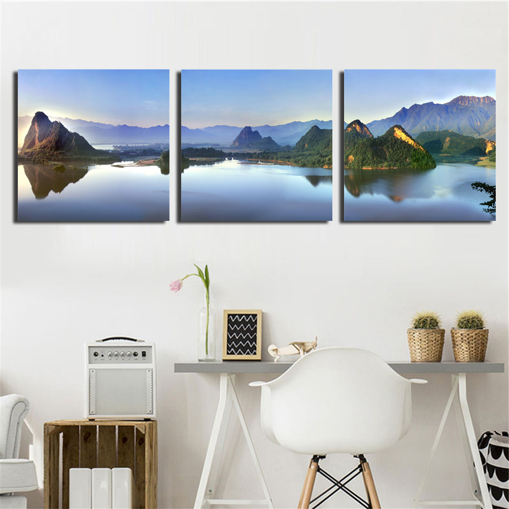 5 Pcs Framed Wall Art Painting Mountains Lake Prints On Canvas Landscape Pictures for Home Modern Decor Painting for Living Room