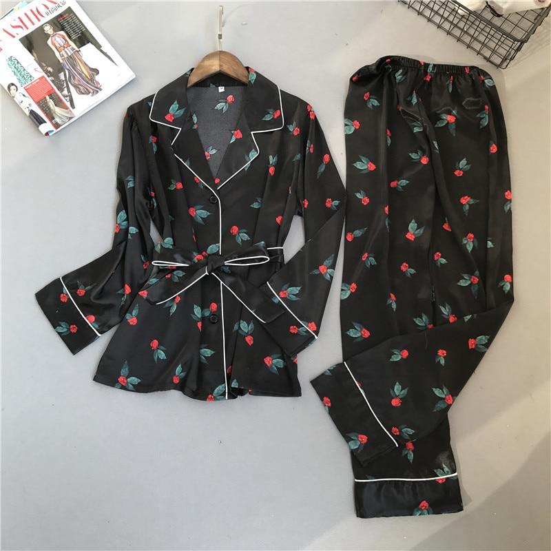 Spring Autumn Printing Pattern Women Pajama Set Rayon Sleepwear Long Sleeve Trousers Two Paper Suit Pyjamas Women Sleepwear