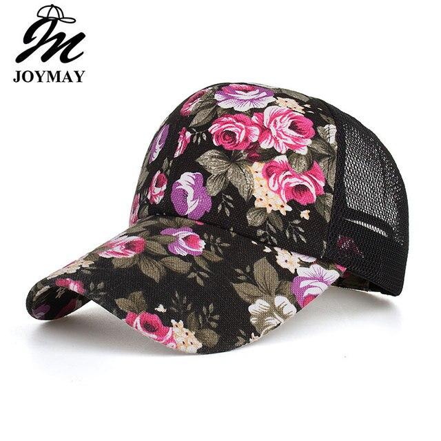 Joymay 2018 Meash gorra de béisbol mujeres Snapback Floral verano sombreros  casquillos ocasionales ajustables envío de d97c15730af