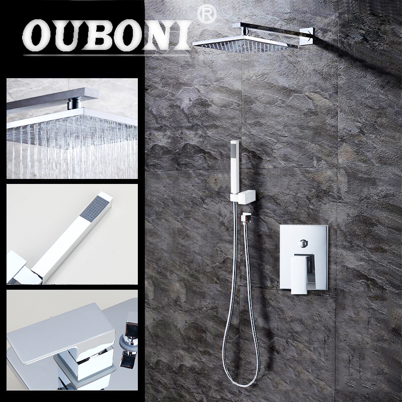 OUBONI 8 Wall Mounted Rain Shower Set Luxury Square Shower Head with Hand Shower Chrome Brass Shower Faucets wall mounted rain shower set luxury square shower head 8 shower set with hand shower and control valve