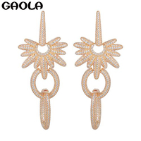 New Design New Arrival Vintage 18k Gold Plated Earring Africa Cubic Zircon Trendy Dangle Earrings Party